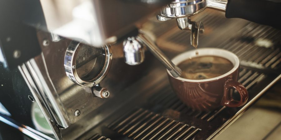 Closeup of coffee machine